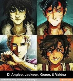 Nico, Percy, Jason, and Leo. I know Nico is the son of Hades, but he looks pretty creepy in this picture. But I don't care because I love Percy, Leo, and Nico! Plus they are absolutely amazing drawings