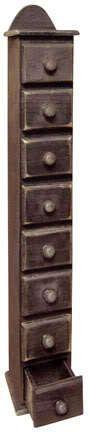 8 drawer tall spice box wood cabinet - primitive decor