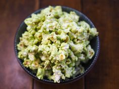 Matcha and White Chocolate Popcorn  In this recipe, vibrant matcha, a type of Japanese green tea, is whisked into white chocolate to form a coating for freshly popped popcorn. Slightly herbal and not-too-sweet, it has a subtle flavor that will keep you coming back for more.