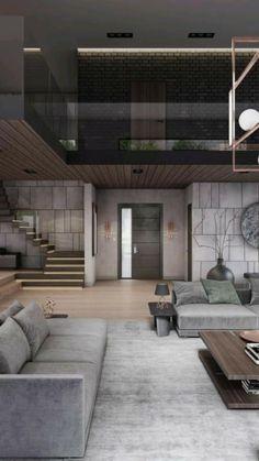 Loft Design, Home Room Design, Dream Home Design, Modern House Design, Living Room Designs, Design Kitchen, Design Design, Modern Wood House, Modern Minimalist House