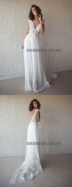 Applique Vintage Backless Beach Wedding Dresses, Tulle V-Neck Wedding Gowns, KX566 #okbridal #weddingdress