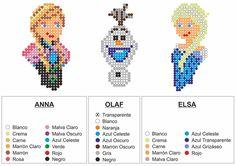 Frozen characters Hama perler patterns by Diydownloads
