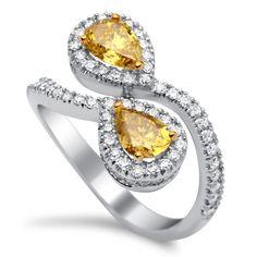 Deep yellow diamond ring