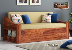 Buy Thar Sofa Cum Bed (Queen Size, Honey Finish) Online in India, Get Wooden Thar Sofa Cum Bed (Queen Size, Honey Finish) Wooden Street Wood Bed Design, Sofa Couch Design, Art Deco Sofa, Bed Furniture Design, Wooden Street, Sofa, Sofa Come Bed Furniture, Wooden Sofa Designs, Convertible Couch