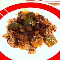 Pepper steak over rice pilaf with mushrooms #larryskitchen