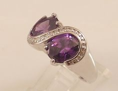 Ladies Purple Amethyst CZ Ring~18K White Gold Overlay~Size 9- Free Gift Box