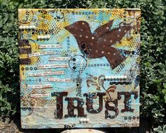 TRUST personalized mixed media art canvas