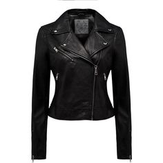 Forever New Kitty Leather Biker Jacket ($205) ❤ liked on Polyvore featuring outerwear, jackets, black, leather jackets, leather moto jacket, real leather jackets, leather motorcycle jacket and zipper leather jacket