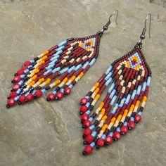 Long seed bead earrings  beaded jewelry by Anabel27shop on Etsy, $23.00