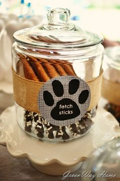 From GreenWay Home: puppy party for Reed's birthday - fetch sticks as a great human snack at a dog party! Dog Themed Parties, Puppy Birthday Parties, Puppy Party, Dog Birthday, Birthday Party Themes, Birthday Ideas, Paw Patrol Party, Paw Patrol Birthday, Animal Birthday