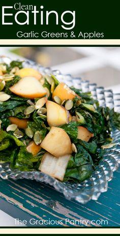 Clean Eating Garlic Greens & Apples. #cleaneating #eatclean #cleaneatingrecipes #dairyfree #dairyfreerecipes #cleaneatingdiaryfreerecipes