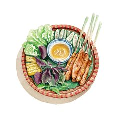 Food illustrations on behance vietnamese food, vietnamese recipes, food doo Cute Food Art, Love Food, Food Design, Nem Nuong, Food Art Painting, Food Sketch, Food Cartoon, Watercolor Food, Vietnamese Recipes
