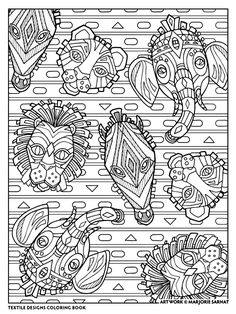 Creative Haven Textile Designs Coloring Book By Marjorie Sarnat African Masks