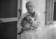 Picasso with his cat