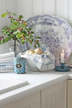 Farmhouse Decorating ~ Kitchen Vignette with Transferware and Vintage Items