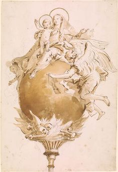 Giovanni Battista Tiepolo | Virgin and Child Seated on a Globe | Drawings Online | The Morgan Library & Museum