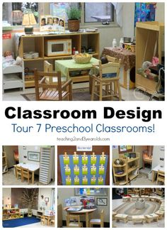 Preschool classroom design ideas - here is a virtual tour of 7 different early childhood settings. Teachers, get inspired for back-to-school! Wondering how to set up a preschool classroom? Take a virtual tour of 7 different early childhood centers! Preschool Classroom Layout, Preschool Set Up, Preschool Rooms, Preschool Centers, Classroom Setting, Classroom Design, Classroom Organization, Classroom Ideas, Toddler Classroom Decorations