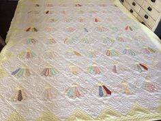 Vintage Handmade Cutter Quilt, Comforter Style, White and Yellow with Multicolored Fan Pattern, Light Yellow Backing, Blanket/Throw