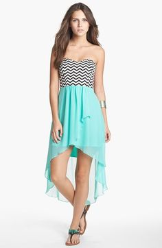 Free shipping and returns on Trixxi Zigzag Print High/Low Dress (Juniors) at Nordstrom.com. Lively lines wave up and down the bodice topping a floaty high/low chiffon dress.