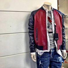 Jackets Fashion, Leather Jackets, Dsquared2, Contrast, Bomber Jacket, Winter, Leather Jacket, Bomber Jackets, Fur Jacket