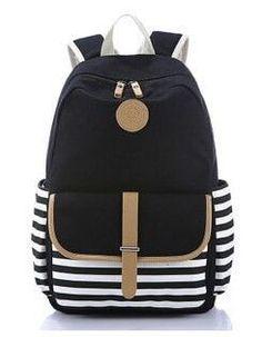 Feminine Backpack Striped Women Canvas Backpack Teenage Backpacks for Teen  Girls Teenagers Bagpack Youth Female Mochila Feminina in 2018  617828ffdc24e