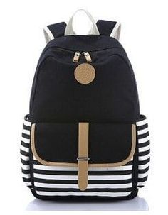 Quality Soft Canvas Stripe Print Multifunctional Backpack 4 Colors 1f6dd2515a