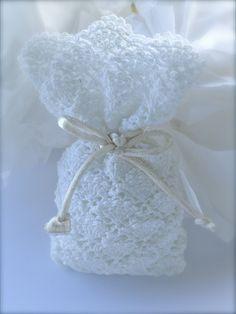 Crochet wedding favor  Baby shower  White bag by LeCrochetdOr