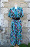 PATRA - BRIGHT / ABSTRACT 80s Style Print - SILK Skirt & Blouse Shirt UK 12 14