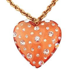 Pre-owned Betsey Johnson Lucite Crystal Rhinestone Heart Charm Pendant... ($89) ❤ liked on Polyvore
