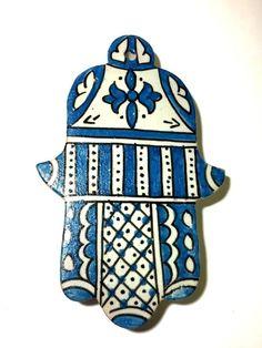 Moroccan Khamsa Hand Lucky Amulet Glazed Ceramic Mosaic Tile Hang Wall Teal Blue #Handmade