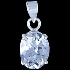 Silver pendant, CZ, oval Silver pendant, Ag 925/1000 - sterling silver. With a stone (CZ - cubic zirconia). Gothic-style oval set with a zircon. Dimensions approx. 11x9x5mm