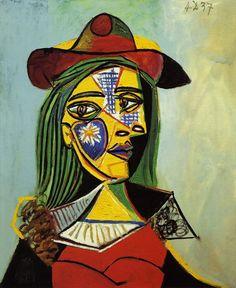 Pablo Picasso. Femme au chapeau et col en fourrure. 1937 year