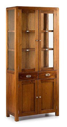 Muebles Portobellostreet.es: Vitrina Star 4 Puertas 2 Cajones - Vitrinas Coloniales y Rústicas - Muebles Coloniales y Muebles Rústicos