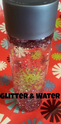 glitter and water sensory bottle Voss Water Bottle, Water Bottle Crafts, Baby Sensory Bottles, Calm Down Kit, Quick Crafts, Baby Development, Rubbing Alcohol, Dollar Stores, Therapy