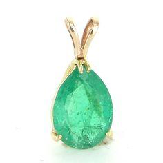 Vintage 14 Karat Yellow Gold Natural Emerald Pear Shaped Pendant Fine Jewelry