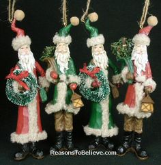 4 great assorted folk Santas - Tall, and lightweight - very folky. Father Christmas, Christmas Art, All Things Christmas, Vintage Santa Claus, Vintage Santas, Santa Ornaments, Old World, Hand Carved, Folk