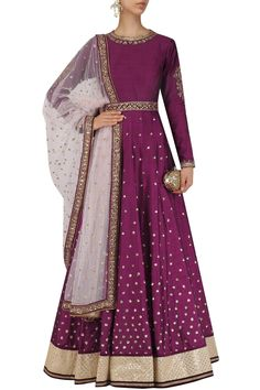 Wine sequins embroidered anarkali with dupatta and belt available only at Pernia's Pop Up Shop.