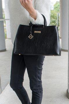 Bolsa Raquel - Stella Sofia #bolsa #preta #couro ecológico #look #moda #acessório