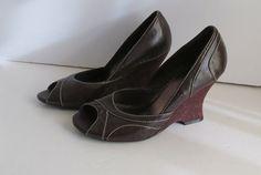 Prom Shoes 80s Brown Cork Wedge Pump Shoes sz by ReVintageBoutique