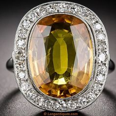 8.50ct. Golden Honey-colored Sapphire and Diamond Halo Ring! Item# 30-1-5632