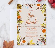 Give Thanks Foliage Wreath Invitations by ChelsCreationsDesign