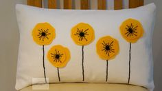 Yellow Poppy Cushion/Pillow 30cm x 40cm by TealeafCreationsUK