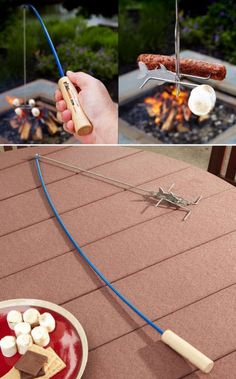 Cool Campfire Marshmallow and Hot Dog Roasting Fishing Poles! Perfect for outdoor summer fun.