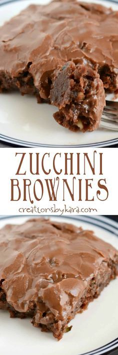 Fudgy and delicious zucchini brownies with chocolate frosting. Serve them warm or cold for a delicious dessert! A great way to use zucchini.