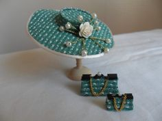 1/12th miniature dolls house hat handmade by myself.  Large brimmed.