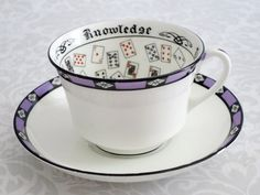 Fortune Teller Tea Cup and Saucer by Aynsley  /  Vintage Purple Cup of Knowledge Teacup Set  /   Fortune Telling Tasseomancy Cup