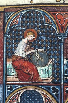 This week's #ManuscriptMonday words are 'Diaper Pattern'. From the French diapré ('variegated'), a diaper pattern is a repetitive geometric pattern. Although used as early as the eleventh century, it often acted as a background in Gothic illumination. Detail from Bible Historiale, 1st part (Genesis-Maccabees) France, Central (Paris), c. 1320-1340