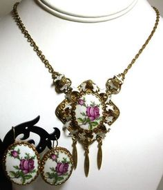 Porcelain Cabochon Pink Roses Layered Brass Necklace Pierced Earrings Set | eBay $49.99 SOLD