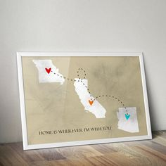 US States Poster Home is Wherever I'm with You by TwelveMonkeys