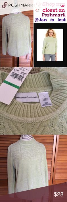 """Alfred Dunner Classic Sweater L Super soft Alfred Dunner Classic sweater.  Color is celery. 100% acrylic. Measures 22"""" across the chest and waist. Total length is 24"""".  New with tags. Alfred Dunner Sweaters"""